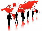 foto of person silhouette  - Illustration of business people and map red - JPG