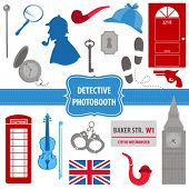 stock photo of sherlock holmes  - Detective Sherlock Party set  - JPG