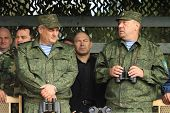 KOSTROMA REGION - AUG 26: Vladimir Shamanov (R) (Commander-in-Chief Russian Airborne Troops) during