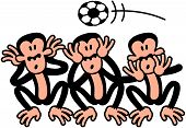 Three wise monkeys celebrating soccer
