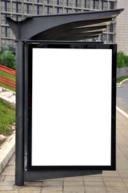 foto of bus-shelter  - Blank billboard for advertising on a bus and tram stop - JPG