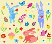 Set of cute Easter rabbits