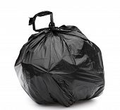 Black Garbage Bag On A White Background