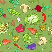 Seamless pattern with vegetables green