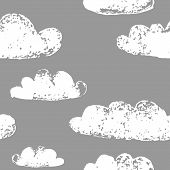 White clouds grunge prints on the grey sky seamless pattern, vector