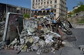 KIEV, UKRAINE - APR 28, 2014: Downtown. Mass destruction after Putsch of Junta in Kiev.April 28, 2014 Kiev, Ukraine