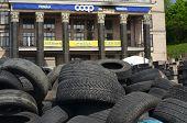 KIEV, UKRAINE - APR 28, 2014: Downtown. Mass destruction after Putsch of Junta in Kiev.April 28, 2014 Kiev, Ukraine