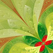 Beautiful Fractal Flower In Green And Red. Computer Generated Graphics.