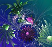 Flower Background. Green, Violet And Blue Palette. Computer Generated Graphics.