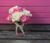 Pink and cream floral arrangement