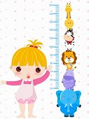 pic of measuring height  - A vector illustration of a girl measuring her height - JPG