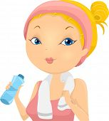 Illustration of a Woman Wearing Exercise Clothing Drinking from a Water Bottle