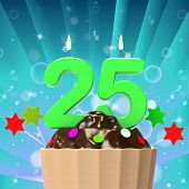 Twenty Five Candle On Cupcake Means Birth Anniversary Or Celebra