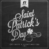 Saint Patrick's Day Typographical Background On Chalkboard With Chalk