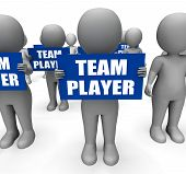 Characters Holding Team Player Signs Show Teamwork Or Teammate