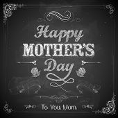 illustration of Happy Mothers Day card in retro style