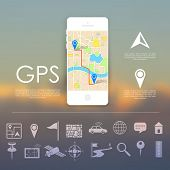 image of gps  - illustration of navigation icon set for GPS application - JPG