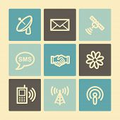 Communication web icons, buttons set