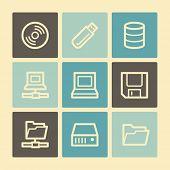 Drive storage web icons, buttons set