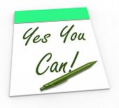Yes You Can Notepad Shows Self-belief And Confidence