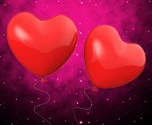 Heart Balloons Show Mutual Attraction And Affection