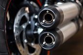 stock photo of exhaust pipes  - Close up shot of a motorcycle exhaust pipes - JPG