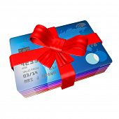 rob wrapped arounf credit cards like a present, 3d render on a white background