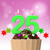 Twenty Five Candle On Cupcake Shows Getting Older Or Growing Up