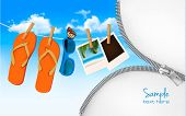 Flip flops, sunglasses and photo cards hanging on a rope. Summer memories background with a zipper.