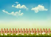 Retro background with a fence, grass, sky and flowers. Vector.