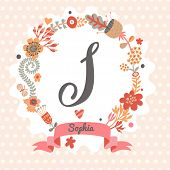 Personalized monogram in vintage colors. Stylish letter S. Can be used as greeting card, invitation card. Floral wreath in vector