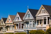 San Francisco Painted Ladies Victorian houses in Alamo Square at California USA