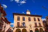Mora de Rubielos in Teruel City Town Hall square at Aragon stonewall village Maestrazgo Spain