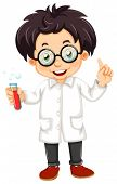 Illustration of a scientist on a white background