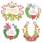 Stylish Vintage Floral Label With Butterflies,bees.hellow Summer!