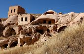 houses sculpted from tufa, Cappadocia, Turkey