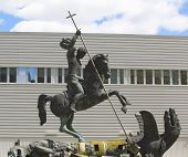 Sculpture titled Good Defeats Evil presented to United Nations by the Soviet Union in 1990 in NY