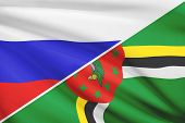 Series Of Ruffled Flags. Russia And Commonwealth Of Dominica.