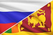 Series Of Ruffled Flags. Russia And Democratic Socialist Republic Of Sri Lanka.