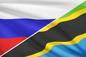 Series Of Ruffled Flags. Russia And United Republic Of Tanzania.