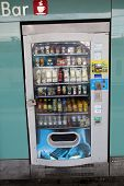 BOLOGNA, ITALY - APRIL 19, 2014: An outdoor vending machine offering snacks and beverages in Bologna