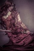 image of woman dragon  - Red queen katana - JPG