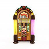 stock photo of jukebox  - Juke Box Radio isolated on white background - JPG
