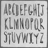 Hand drawn sketch alphabet.