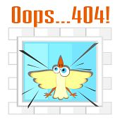 pic of not found  - Concept of not found error message with bird and window - JPG