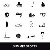 summer sports and equipment icon set eps10