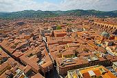 BOLOGNA, ITALY - APRIL 19, 2014: An aerial view of Bologna, Italy, on Saturday, April 19, 2014.