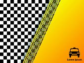 Checkered Background Design With Tire Tread