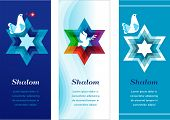 stock photo of hebrew  - three template cards with jewish symbols - JPG