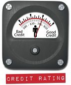 Meter measures good credit rating of consumer person
